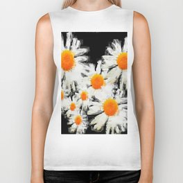 high contrast daisies pastel drawing Biker Tank