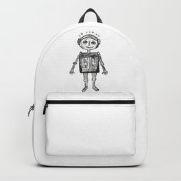 Little robot white and black drawing Backpack
