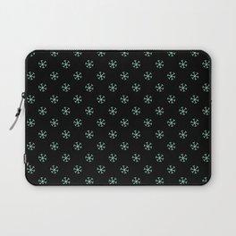 Magic Mint Green on Black Snowflakes Laptop Sleeve