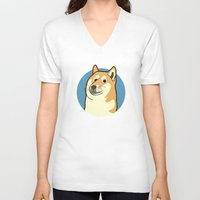 doge V-neck T-shirts featuring Doge by evannave