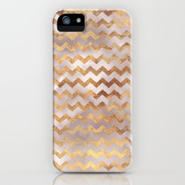 Elegant chic faux gold chevron marble pattern iPhone Case