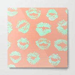Sweet Life Lips Peach Coral + Mint Meringue Metal Print