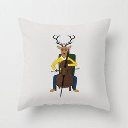 Deer playing cello Throw Pillow