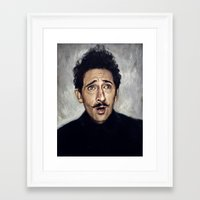 budapest hotel Framed Art Prints featuring Adrien Brody / Grand Budapest Hotel by Heather Buchanan