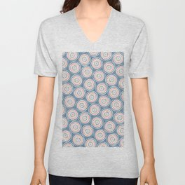 Paint Can Circles Geometric Texture Pattern Blue Coral Beige Unisex V-Neck