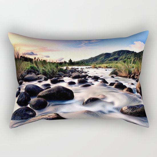 Gorgeous Epic River in Landscape with Sunset Rectangular Pillow