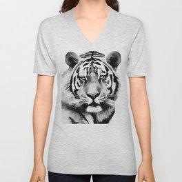 Tiger Black and white Unisex V-Neck