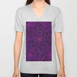 Succulents in Fuchsia Unisex V-Neck