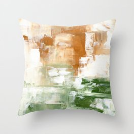 Ejaaz Haniff Abstract Acrylic Palette Knife Painting Olive Green Yellow Ochre: 'Sunny Valley One' Throw Pillow