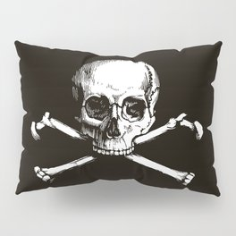 Skull and Crossbones | Jolly Roger | Pirate Flag | Black and White | Pillow Sham