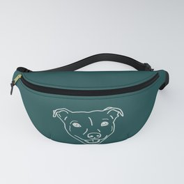 Smiling staffy (Staffordshire bull terrier) pitbull bully breed dog  on green teal background Fanny Pack