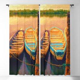 Sunset Boats Landscape Painting Seascape Blackout Curtain