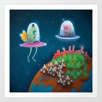 aliens Art Prints featuring aliens by Azbeen