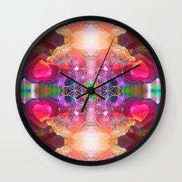 Amethyst Rose Quartz Crystal rAiNbOw Mandala - Design 01 Wall Clock