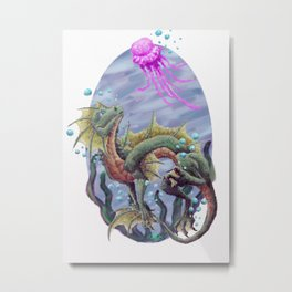Sea Dragon and Jellyfish - Alternate Metal Print