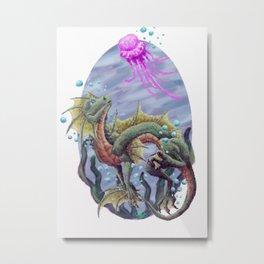 Sea Dragon and Jellyfish - Alternate Metal Print