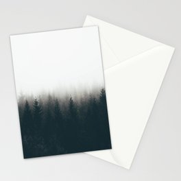 Moody Black & White Pine Misty Foggy Forest Minimalist Landscape Photography Stationery Cards