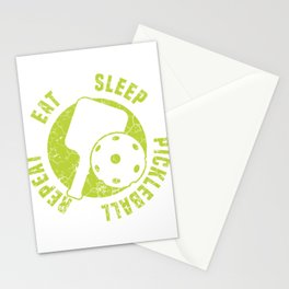 """Nice Gift For Your Sporty Friend """"Eat Sleep Pickleball Repeat"""" T-shirt Design Pensioner Nap Doze Stationery Cards"""