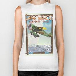 Lake Huron Vintage travel poster. Biker Tank