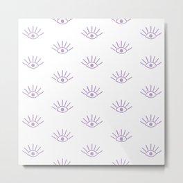Lavender Evil Eye Pattern Metal Print