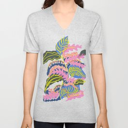 Pink Leaves and Red Flowers Unisex V-Neck