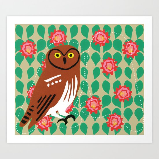 Elf Owl and Cactus Blooms Art Print