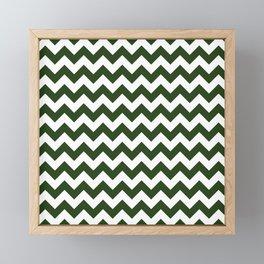 Large Dark Forest Green and White Chevron Stripe Pattern Framed Mini Art Print