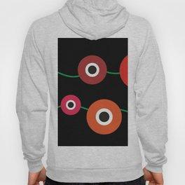 Red poppy circle on black Hoody