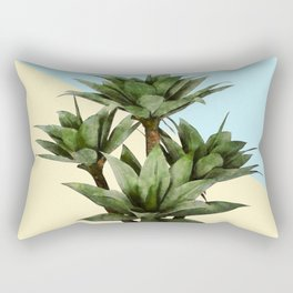 Agave Plant on Lemon and Teal Wall Rectangular Pillow