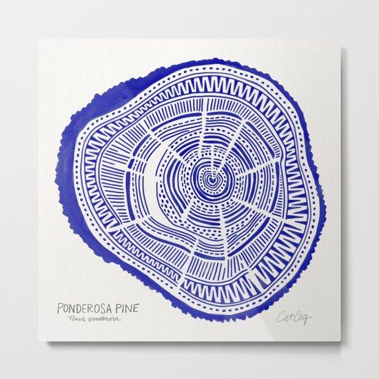 Ponderosa Pine – Navy Palette Metal Print