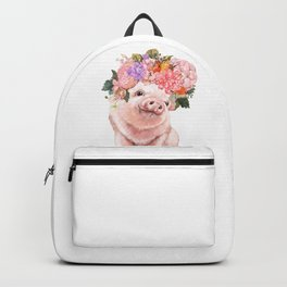 Lovely Baby Pig with Flowers Crown Backpack