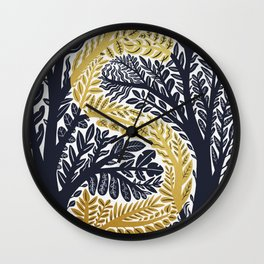 Botanical Metallic Monogram - Letter S Wall Clock