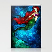 mandie manzano Stationery Cards featuring The Mermaids Song by Mandie Manzano