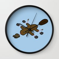 platypus Wall Clocks featuring Platypus Diagram by Jez Kemp