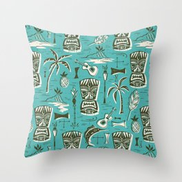 Tropical Tiki - Aqua Throw Pillow