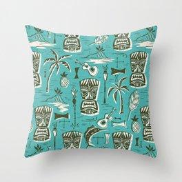 Tropical Tiki - Aqua Throw Pillow