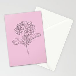 Gray Hydrangea on Pink  Stationery Cards