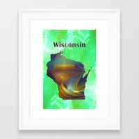 wisconsin Framed Art Prints featuring Wisconsin Map by Roger Wedegis
