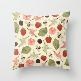 Hummingbirds in the Garden Pattern Throw Pillow