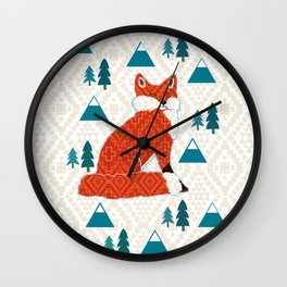Fox on cream geometric Wall Clock