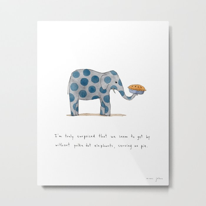 polka dot elephants serving us pie Metal Print