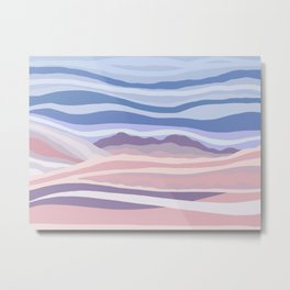 Bohemian Waves // Abstract Baby Blue Pinkish Blush Plum Purple Contemporary Light Mood Landscape  Metal Print