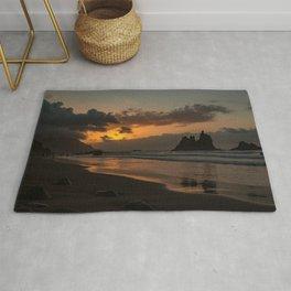 Sunset Beach in Golden Hour Rug