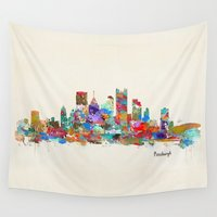 pittsburgh Wall Tapestries featuring Pittsburgh Pennsylvania skyline by bri.buckley