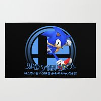 super smash bros Area & Throw Rugs featuring Sonic - Super Smash Bros. by Donkey Inferno