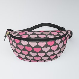 Valentines Hearts- Black Background Fanny Pack