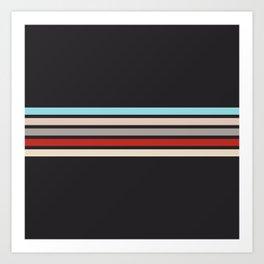Colorful Vintage Stripes Black II Art Print