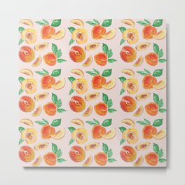 Peaches Slices party in my garden_ Hand Painted modern watercolour & ink Metal Print