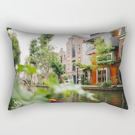 Photo of Typical Dutch Canal Houses in Utrecht, Holland/The Netherlands | Fine Art Colorful Travel Photography |  Rectangular Pillow