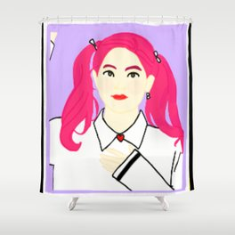 Knock Knock! Dahyun Purple Shower Curtain